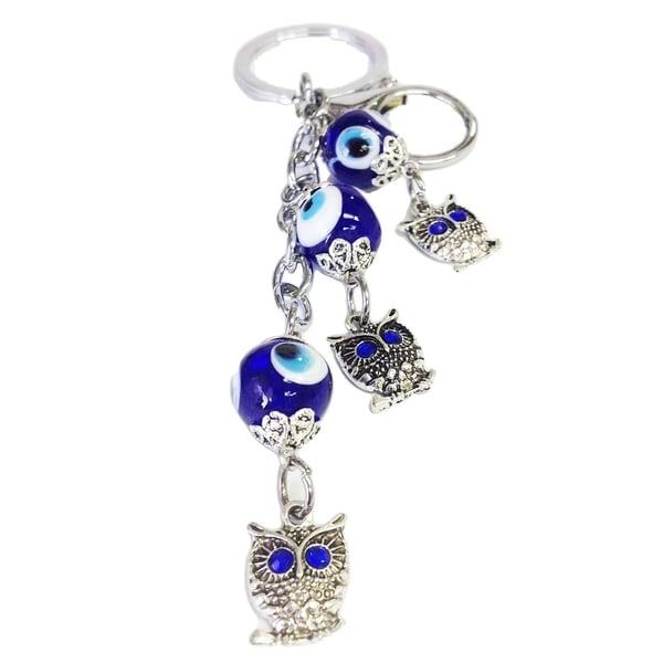 Crystal Florida CF76881325 Evil Eye Key Chain with Three Owl Heads Nazar Kabbalah