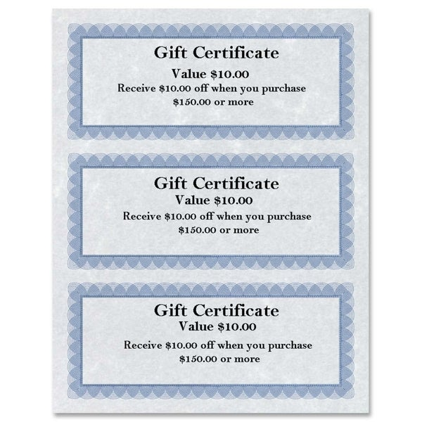 First Base Regent Gift Certificate (Pack of 75)