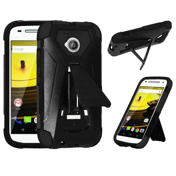 Insten Black/White Hard PC/ Silicone Dual Layer Hybrid Phone Case Cover with Stand For Motorola Moto E(2nd Gen)