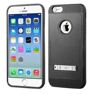 Insten Dark Blue/Black Hard PC/ Silicone Dual Layer Hybrid Rubberized Matte Phone Case Cover with Stand For Apple iPhone 6