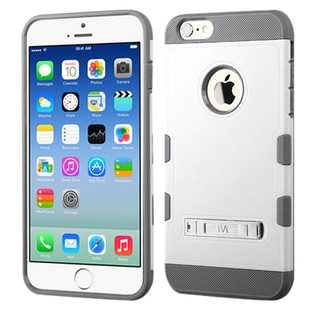 Insten White/Gray Hard PC/ Silicone Dual Layer Hybrid Rubberized Matte Phone Case Cover with Stand For Apple iPhone 6