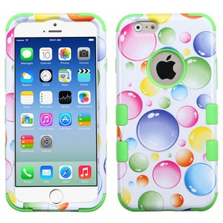 Insten White/Green Rainbow Bubbles Tuff Hard PC/ Silicone Dual Layer Hybrid Rubberized Matte Phone Case Cover For Apple iPhone 6