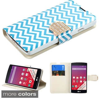 Insten Red/Gold Leather Phone Case Cover with Stand/Wallet Flap Pouch/Diamond For LG Optimus F60