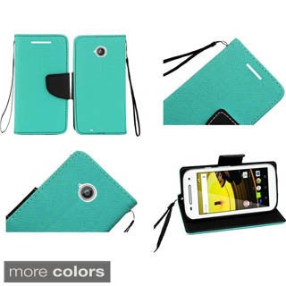 Insten Purple/Black Leather Phone Case Cover Lanyard with Stand/Wallet Flap Pouch For Motorola Moto E(2nd Gen)