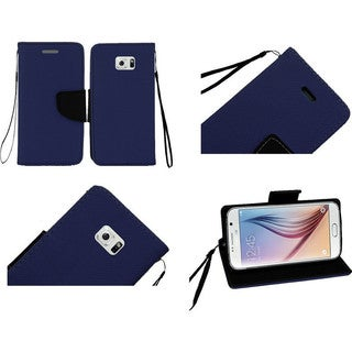 Insten White/Black Leather Phone Case Cover Lanyard with Stand/Wallet Flap Pouch For Samsung Galaxy S6
