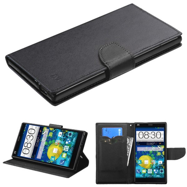 Insten Black/Red Leather Phone Case Cover with Stand/Wallet Flap Pouch For ZTE Grand X Max/Grand X Max+
