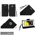 Insten Blue Leather Phone Case Cover Lanyard with Stand/Wallet Flap Pouch For Motorola Moto E(2nd Gen)