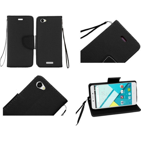 Insten White Leather Phone Case Cover Lanyard with Stand/Wallet Flap Pouch For BLU Studio Energy