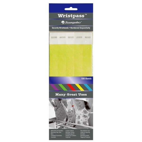 Baumgartens Wristpass Dupont Tyvek Security Wrist Band (Pack of 100)
