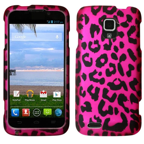 Insten Hot Pink/Black Leopard Hard Snap-on Rubberized Matte Phone Case Cover For ZTE Rapido