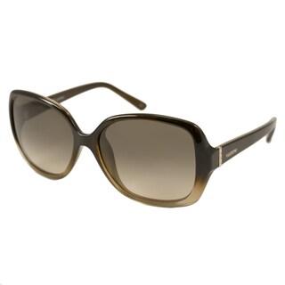 Valentino Women's V637S Brown/ Gold Rectangular Sunglasses