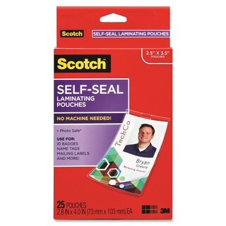 Scotch Self-Laminating ID Clip Style Pouch (Pack of 25)