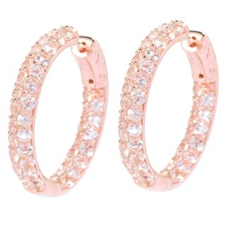Sterling Silver Morganite Double-row Inside-out 1-inch Hoop Earrings