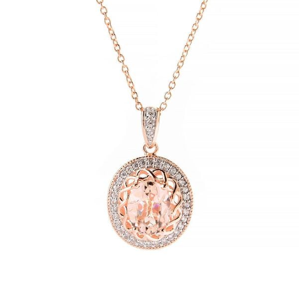 Sterling Silver Oval Morganite White Zircon Necklace