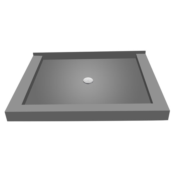 Redi Base 36 inch D x 48 inch W Fully Integrated Shower Pan with Center PVC Drain with Triple Curb