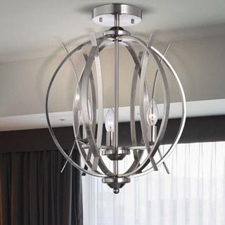Griselda Satin Nickel Ironwork Spherical Shape Contemporary Chandelier