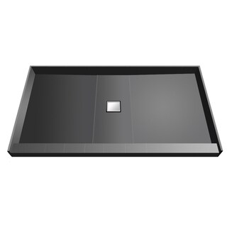 Wonder Drain 36 inch D x 48 inch W Fully Integrated Shower Pan with Center PVC Wonder Drain