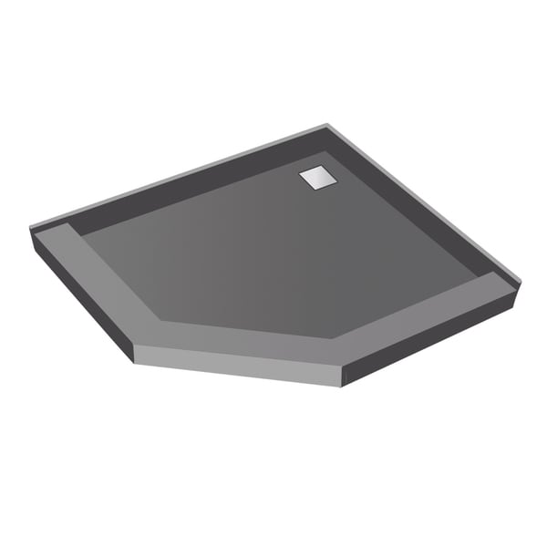 Redi Neo 46 inch D x 46 inch W Neo Angle Fully Integrated Shower Pan with Back PVC Wonder Drain