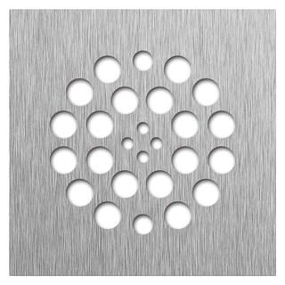 Redi Drain 14 Gauge Stainless Steel Drain 4.25 Square Brushed Nickel finish two matching screws