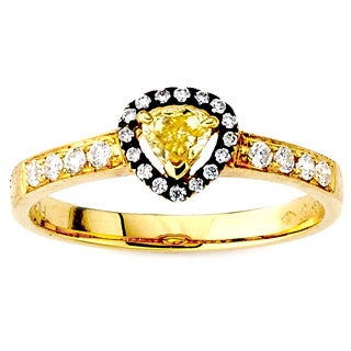Diamonds for a Cure 18k Yellow Gold 1/2ct TDW Pear-cut Yellow Diamond Ring (G-H, VS1-VS2)