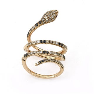 Diamonds for a Cure 18k Rose Gold 1 1/4ct TDW Diamond and Ruby Snake Ring (G-H, SI1-SI2)(Size 7)