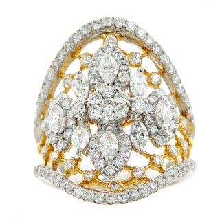 18k Two-tone Gold 2 1/4ct TDW Marquise and Round Diamond Ring (H-I, SI1-SI2)