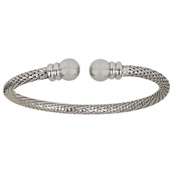 Sterling Silver Popcorn Rounded End Cuff Bracelet
