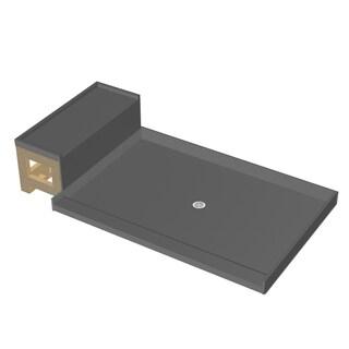 Base'N Bench 48x60 Shower Pan Center Drain Single Curb w Seat