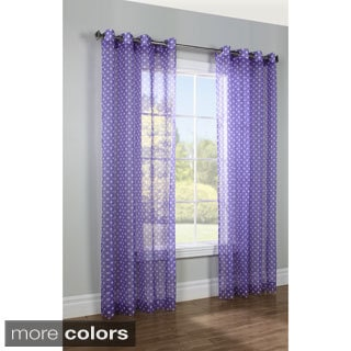 Polka-dot Printed Grommet Top 84-Inch Sheer Curtain Panel