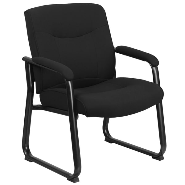 Hercules Series 500-pound Capacity Big and Tall Black Fabric Executive Side Chair with Sled Base