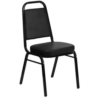 Hercules Series Trapezoidal Back Stacking Banquet Chair with Black Vinyl and 2.5-inch Thick Seat and Black Frame