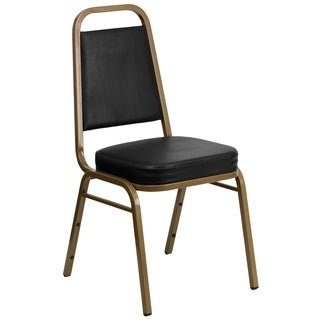 Hercules Series Trapezoidal Back Stacking Banquet Chair with Black Vinyl and 2.5-inch Thick Seat and Gold Frame