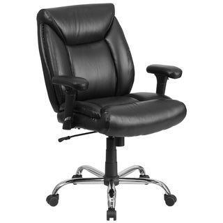 Hercules Series Big and Tall 400-pound Capacity Black Leather Task Chair with Height Adjustable Arms