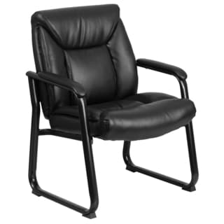 Hercules Series Big and Tall Black 500-pound Capacity Leather Executive Side Chair with Sled Base