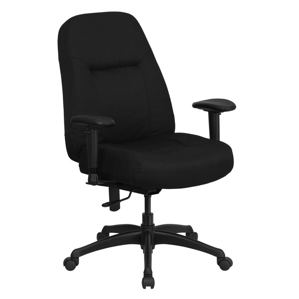 Hercules Series High Back Big and Tall Black Fabric Office Chair with Height Adjustable Arms and Extra Wide Seat