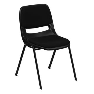 Hercules Series 880-pound Capacity Black Ergonomic Shell Stack Chair with Padded Seat and Back