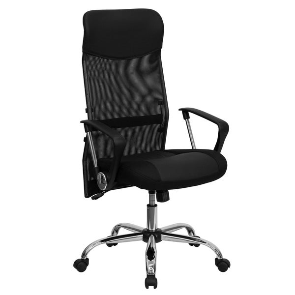 High Back Black Split Leather Chair with Mesh Back