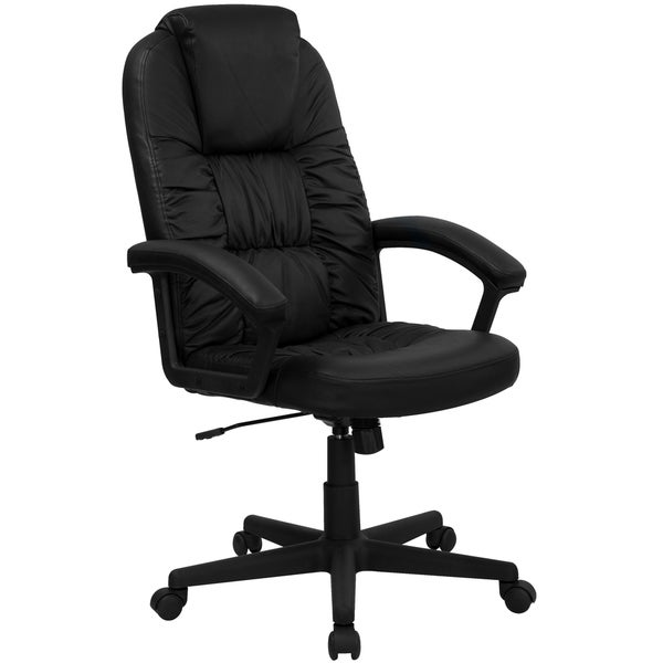 Black High Back Leather Executive Swivel Office Chair 17263231 Overstock