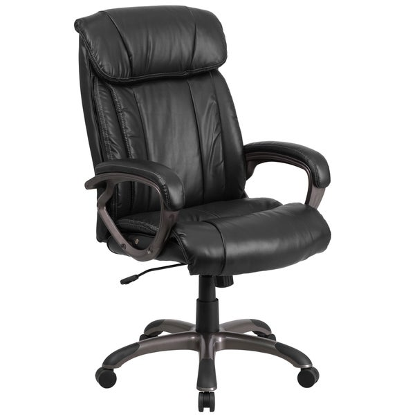 High Back Black Leather Executive Office Chair with White Stich Trim