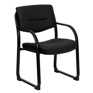 Executive Black Leather Side Chair with Sled Base