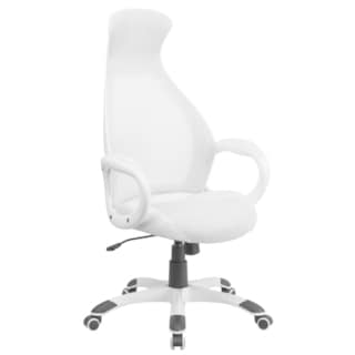 High Back Executive White Mesh Chair with Leather Inset Seat