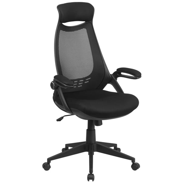 High Back Executive Black Mesh Chair with Flip-Up Arms