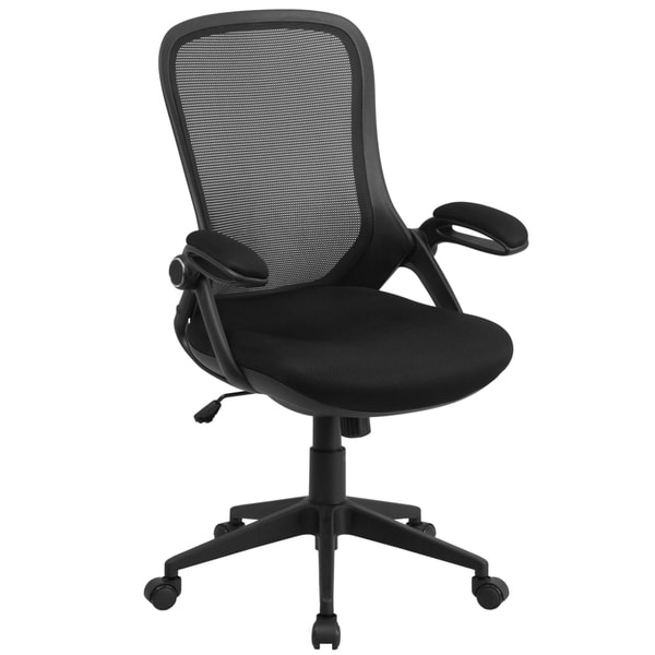 High Back Executive Black Mesh Chair with Comfort Curved Back and Flip-Up Arms