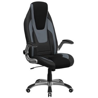 High Back Black and Gray Vinyl Executive Office Chair with Black Mesh Insets and Flip Up Arms