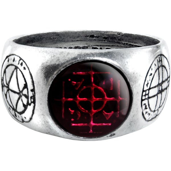 Pewter Red Enamel Agla Ring