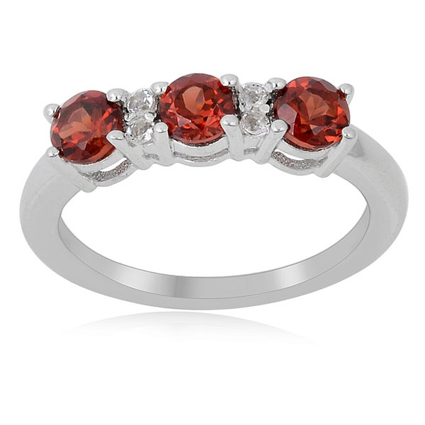 Sterling Silver Garnet and White Topaz 3-stone Ring