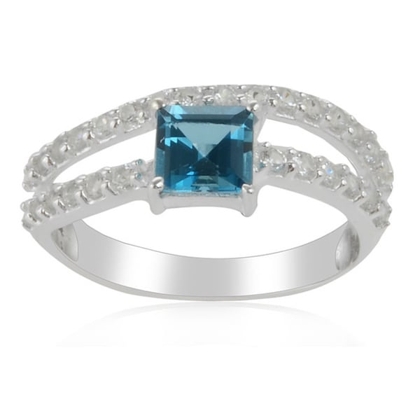 Sterling Silver Square London Blue Topaz and White Topaz Ring