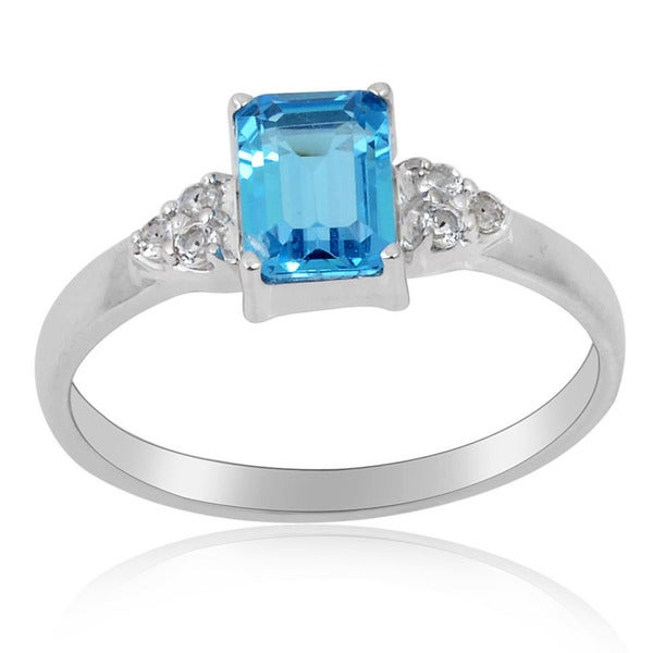 Sterling Silver Swiss Blue Topaz and White Topaz Ring