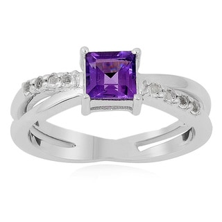 Sterling Silver Square Amethyst and White Topaz Ring
