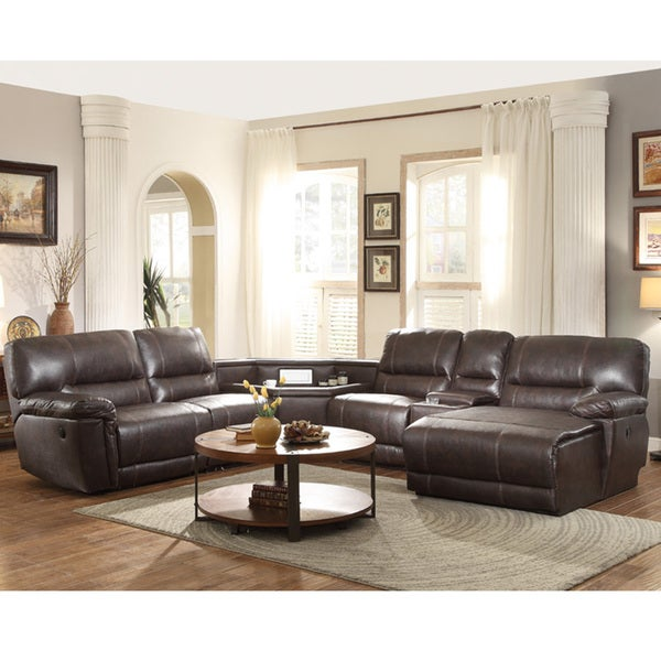Hardy Bonded Leather Reclining Sectional Complete With Chaise Electric Receptacles And Drawer Storage